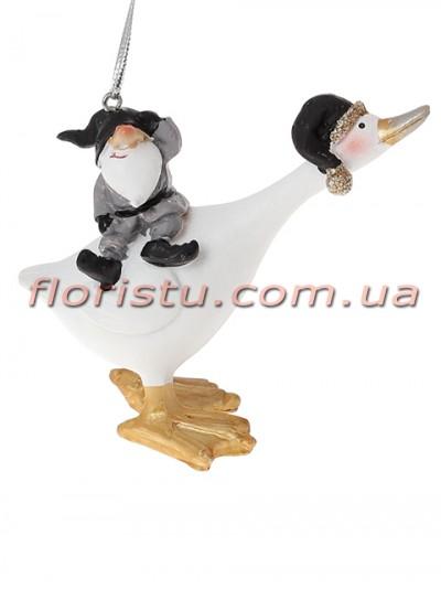 Декоративная подвесная фигурка Гусь с гномиком 9,5 см №1