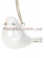 Фарфоровая подвесная фигурка Птичка белая с золотом 6 см №1