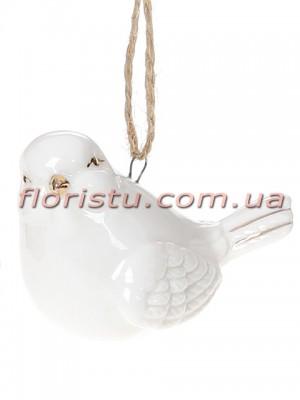 Фарфоровая подвесная фигурка Птичка белая с золотом 6 см №2