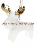 Фарфоровая подвесная фигурка Олень белый с золотом 7,7 см