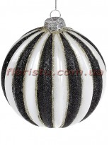 Елочный шар с декором из глиттера Бело-черный 10 см