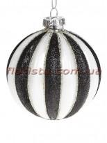 Елочный шар с декором из глиттера Бело-черный 8 см