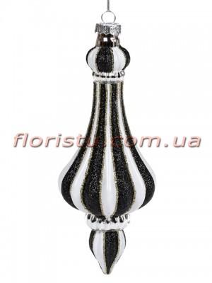 Елочное фигурное украшение с декором из глиттера Бело-черное 17 см
