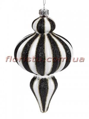 Елочное фигурное украшение с декором из глиттера Бело-черное 16 см