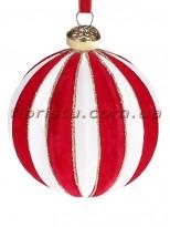 Елочный шар с бархатным покрытием Бело-красный 8 см