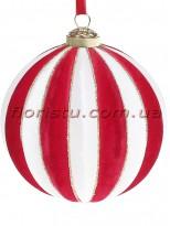 Елочный шар с бархатным покрытием Бело-красный 10 см