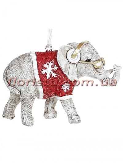 Декоративная подвесная фигурка Слон в наушниках 8,5 см