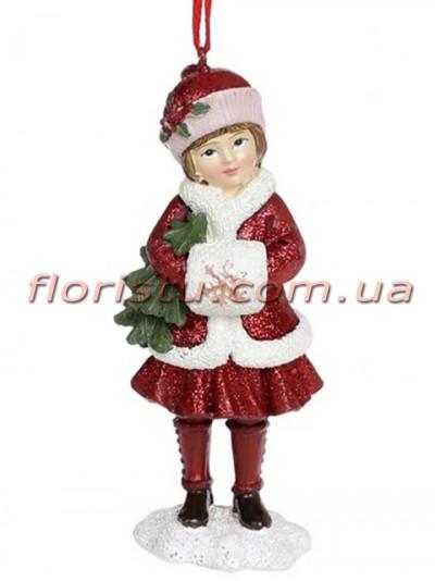 Декоративная подвесная фигурка Детки бордо с розовым 11,5 см №1