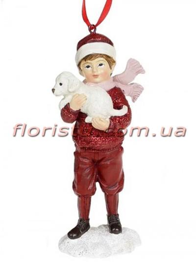 Декоративная подвесная фигурка Детки бордо с розовым 11,5 см №2