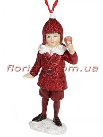 Декоративная подвесная фигурка Детки бордо с розовым 11,5 см №6