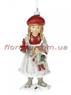Декоративная подвесная фигурка Детки белый винтаж с красным 13 см №1