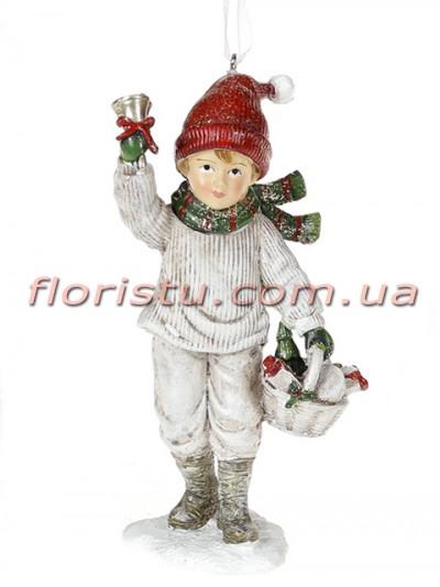 Декоративная подвесная фигурка Детки белый винтаж с красным 13 см №2