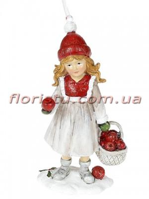 Декоративная подвесная фигурка Детки белый винтаж с красным 13 см №3