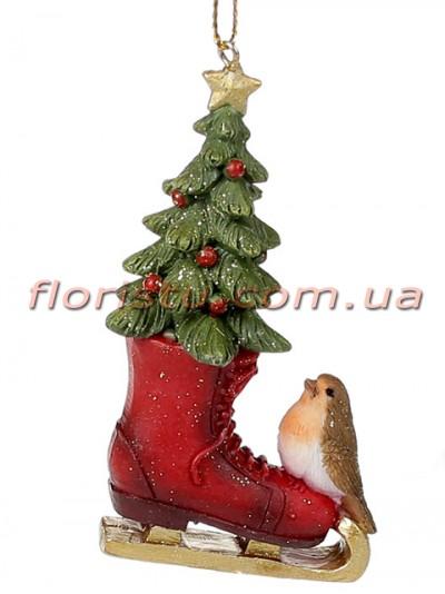 Новогодний подвесной декор из полистоуна Елочка в коньке с птичкой 8 см №1