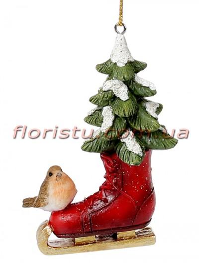 Новогодний подвесной декор из полистоуна Елочка в коньке с птичкой 8 см №2
