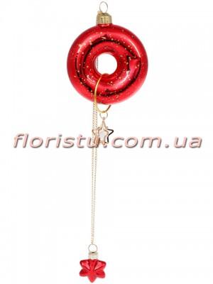 Елочное украшение Пончик с декором красный с золотом 9 см