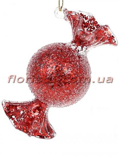 Елочное украшение Конфета красный антик лёд 8,5 см