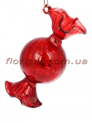 Елочное украшение Конфета красный антик глянец 8,5 см