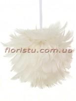 Елочное украшение Шар из перьев Белый 11 см