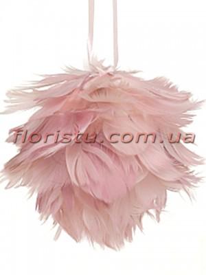 Елочное украшение Шар из перьев Розовый 11 см