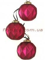 Елочные шары премиум класса Винтаж Бордо 8 см набор 3 шт.