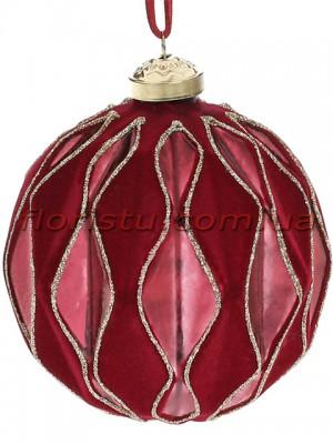 Елочный шар с бархатным и глянцевым покрытием Бордо 10 см