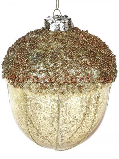 Елочное украшение Желудь с декором из глиттера Золото 10 см