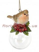 Декоративная статуэтка-подвеска Птичка в цветах на шаре 7 см