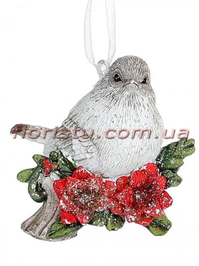 Декоративная статуэтка-подвеска Птичка в цветах 6 см №1