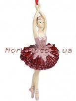 Декоративная подвесная фигурка Балерина в бордо с розовым 14,5 см №1