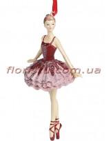 Декоративная подвесная фигурка Балерина в бордо с розовым 14,5 см №2