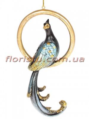 Декоративная подвесная фигурка Павлин темно-синий с золотом 17 см
