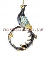 Декоративная подвесная фигурка Павлин темно-синий с золотом 15 см