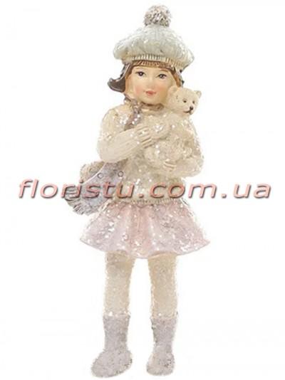 Декоративная новогодняя статуэтка Девочка с мишкой 10,5 см
