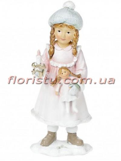 Новогодняя статуэтка из полистоуна Девочка с куклой 12 см