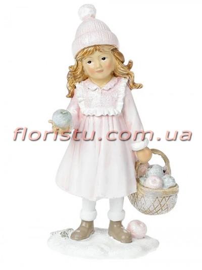 Новогодняя статуэтка из полистоуна Девочка с корзинкой 12 см