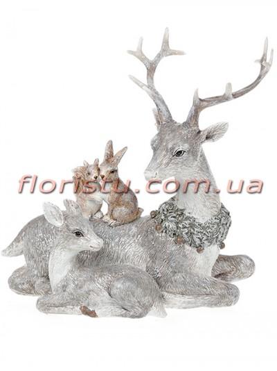 Декоративная статуэтка из полистоуна Олени и лесные жители 18 см