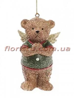 Декоративная статуэтка-подвеска Мишка Ангелочек 8 см №2
