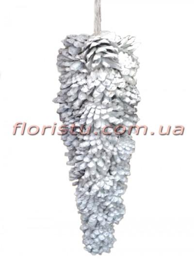 Новогодняя декоративная заснеженная шишка премиум класса 28 см