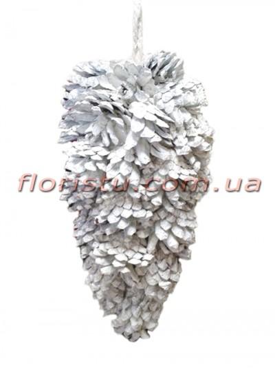 Новогодняя декоративная заснеженная шишка премиум класса 20 см