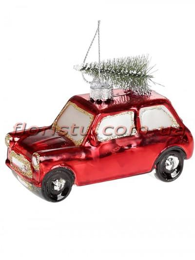 Новогодний подвесной декор из полистоуна Машинка красная с елкой 8,5 см