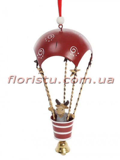 Новогодний подвесной декор Воздушный шар красный с оленем 30 см