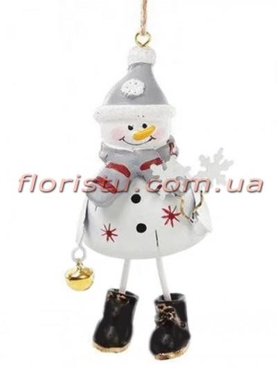 Новогодний подвесной декор Снеговик 18 см