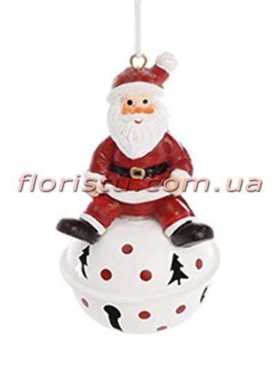 Новогодний подвесной декор-колокольчик Санта 9 см