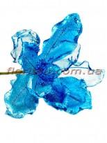 Пуансеттия новогодняя из органзы Синяя 20 см