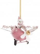 Новогодняя металлическая подвеска Самолет со Снеговиком 9 см