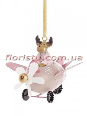 Новогодняя металлическая подвеска Самолет с Оленем 9 см