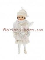 Новогодняя подвесная фигурка Девочка в белом 11 см №2