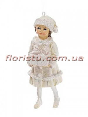 Новогодняя подвесная фигурка Девочка в белом 11 см №3