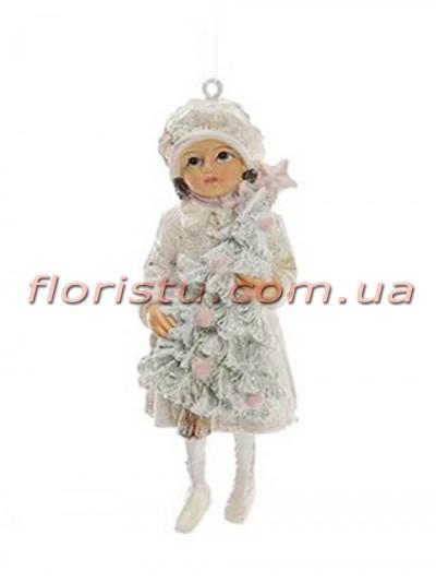 Новогодняя подвесная фигурка Девочка в белом 11 см №4